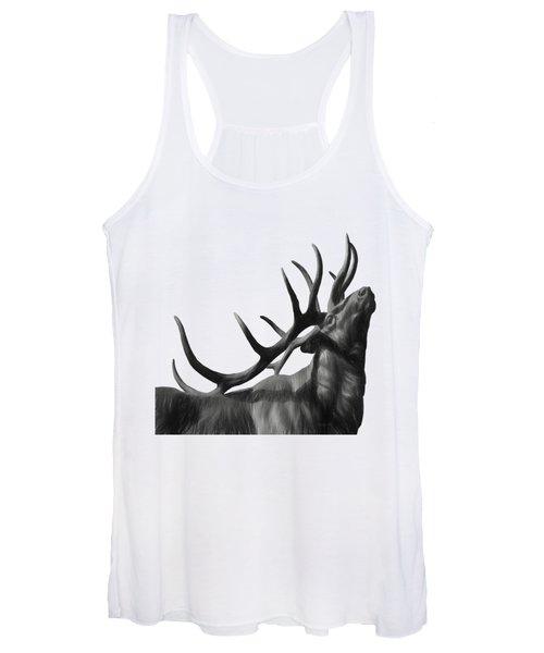 Elk In Black In White  Women's Tank Top