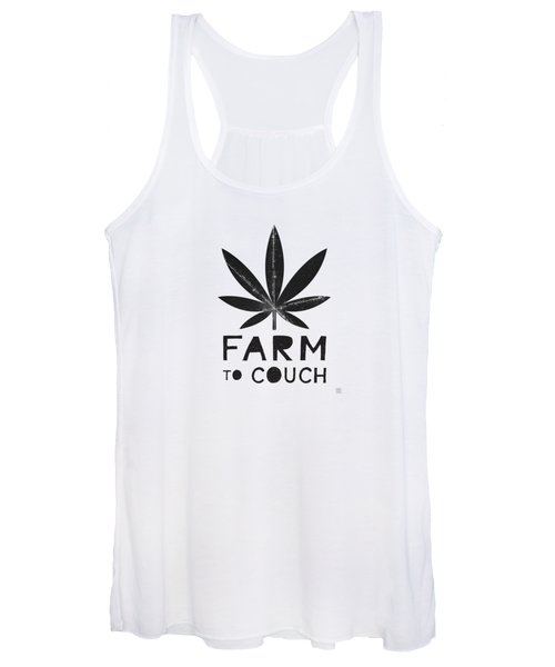 Farm To Couch Black And White- Cannabis Art By Linda Woods Women's Tank Top