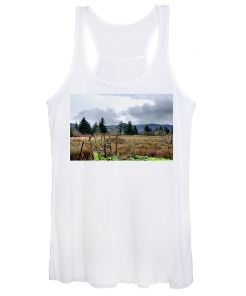 Field, Clouds, Distant Foggy Hills Women's Tank Top