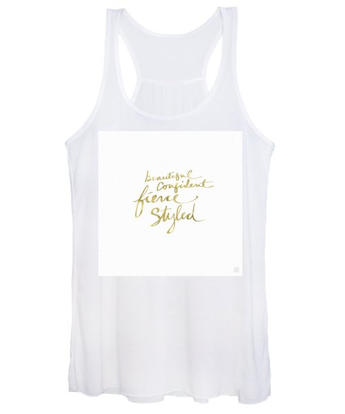 Fierce And Styled Gold- Art By Linda Woods Women's Tank Top