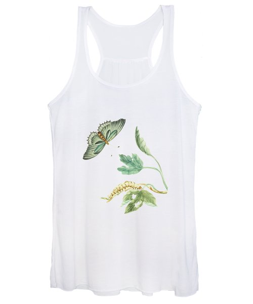 Fig Tree Branch With Caterpillar And Butterfly By Cornelis Markee 1763 Women's Tank Top