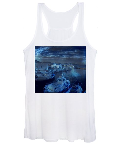 Fish Harbour Paros Island Greece Women's Tank Top