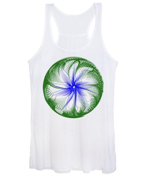 Floral Web - Green Blue By Kaye Menner Women's Tank Top