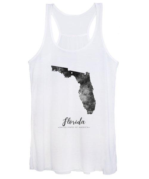 Florida State Map Art - Grunge Silhouette Women's Tank Top