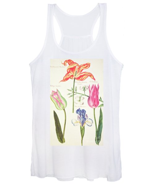 Flower Studies  Tulips And Blue Iris  Women's Tank Top