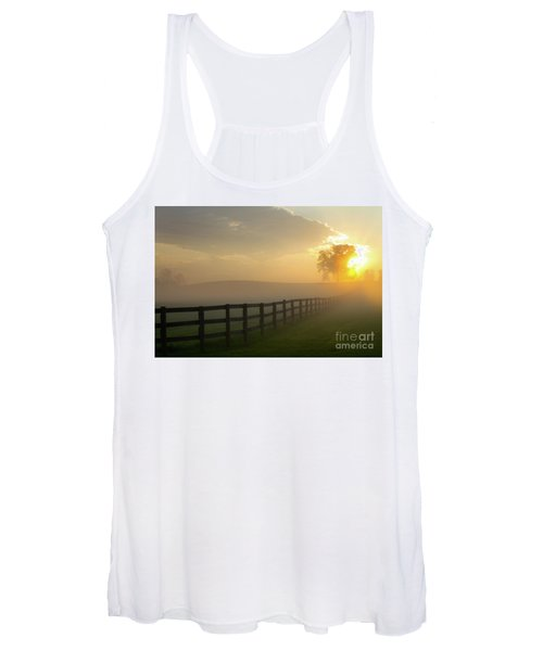 Foggy Pasture Sunrise Women's Tank Top
