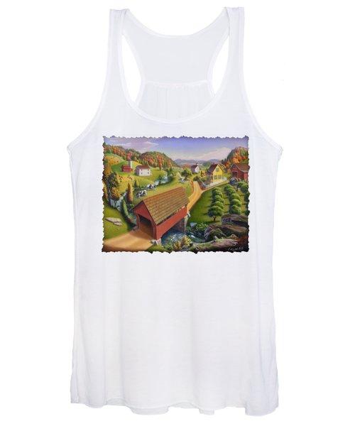 Folk Art Covered Bridge Appalachian Country Farm Summer Landscape - Appalachia - Rural Americana Women's Tank Top
