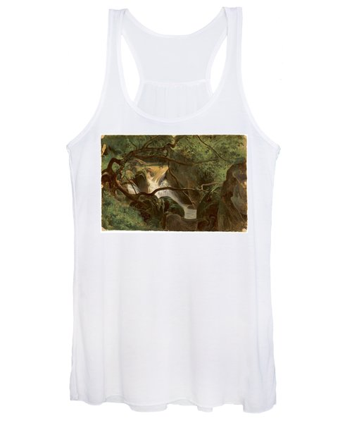 Forest Interior With A Waterfall Papigno Women's Tank Top