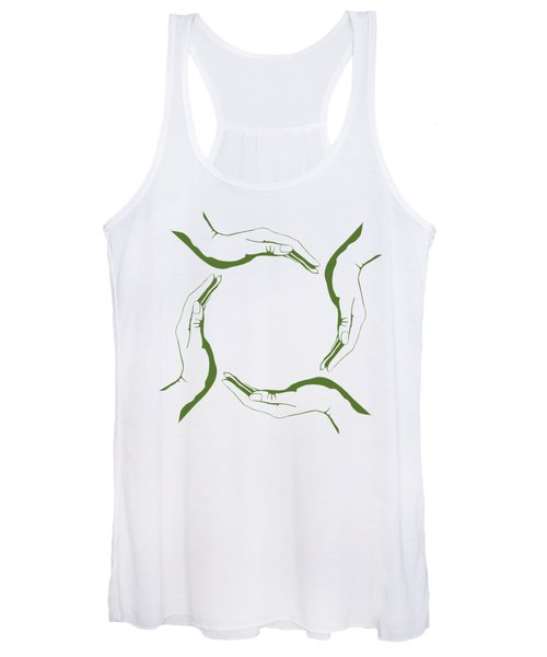 Four People Hands Making Circle Conceptual Round Green Eco Symbo Women's Tank Top