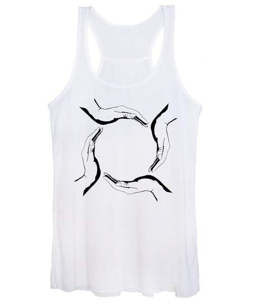 Four People Hands Making Circle Conceptual Round Symbol Background Art Print Women's Tank Top