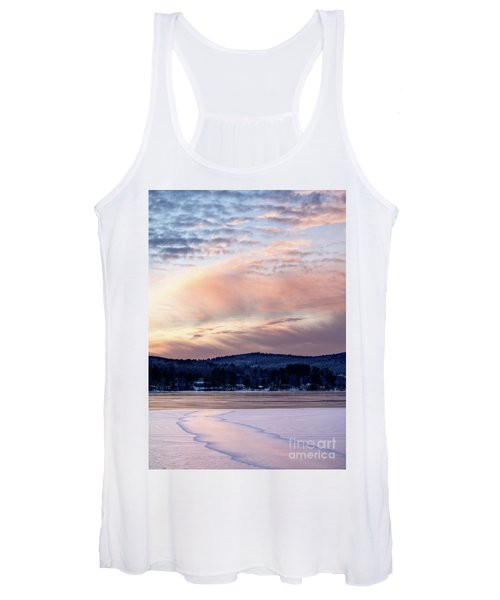 Frozen Lake Sunset In Wilton Maine  -78096-78097 Women's Tank Top