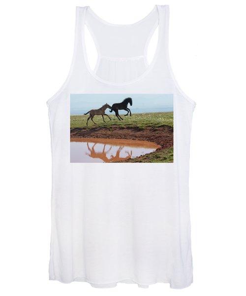 Fun In The Rockies- Wild Horse Foals Women's Tank Top