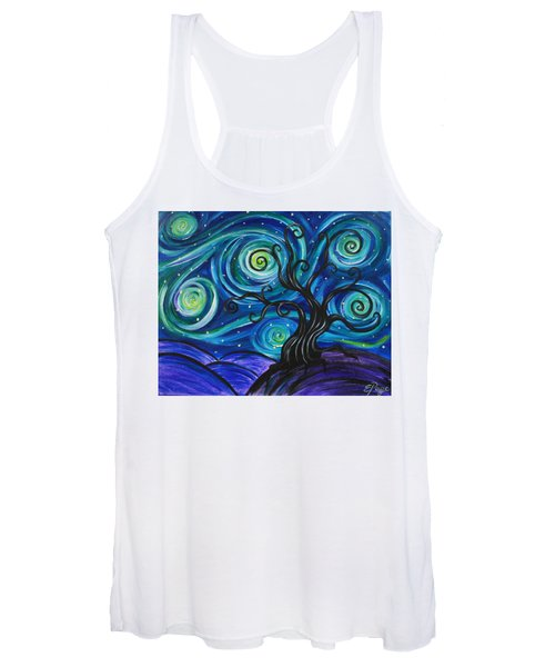 Funky Tree, Starry Night Women's Tank Top