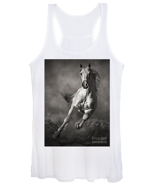 Galloping White Horse In Dust Women's Tank Top