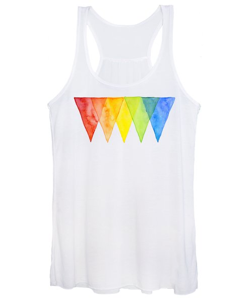 Geometric Watercolor Pattern Rainbow Triangles Women's Tank Top