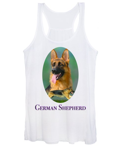 German Shepherd With Name Logo Women's Tank Top