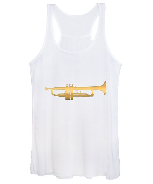 Gold Embossed Trumpet On Light Lavender Background Women's Tank Top