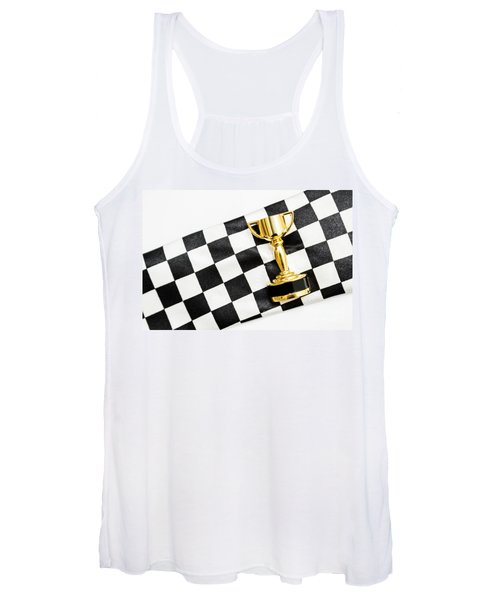 Gold Trophy On A Checked Sport Flag Women's Tank Top