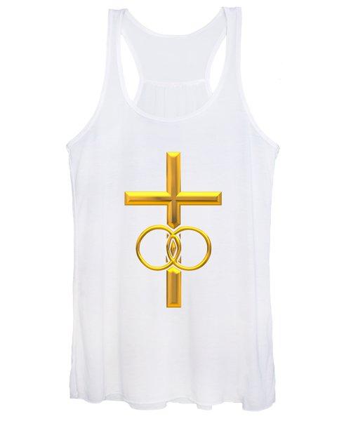 Golden 3d Look Cross With Wedding Rings Women's Tank Top