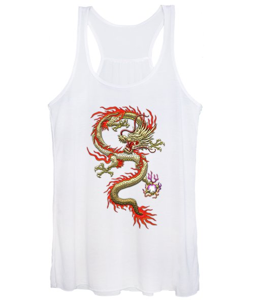 Golden Chinese Dragon Fucanglong On Rice Paper  Women's Tank Top