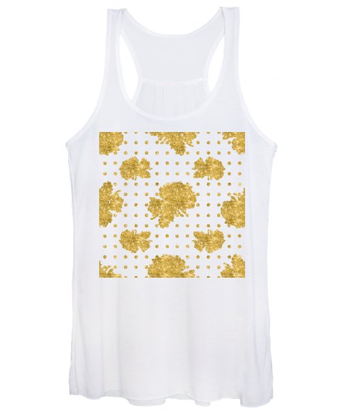 Golden Gold Blush Pink Floral Rose Cluster W Dot Bedding Home Decor Women's Tank Top