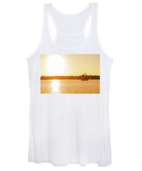 Golden Hour Sailing Ship Women's Tank Top
