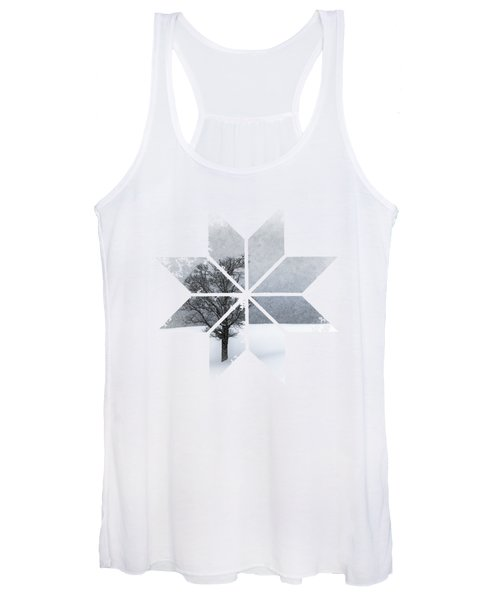 Graphic Art Snowflake Lonely Tree Women's Tank Top