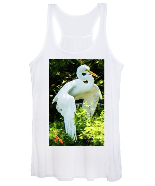 Great Egret Stretching Women's Tank Top