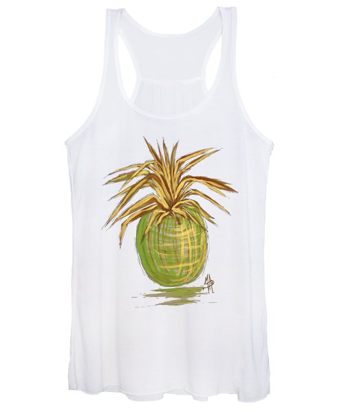 Green Gold Pineapple Painting Illustration Aroon Melane 2015 Collection By Madart Women's Tank Top