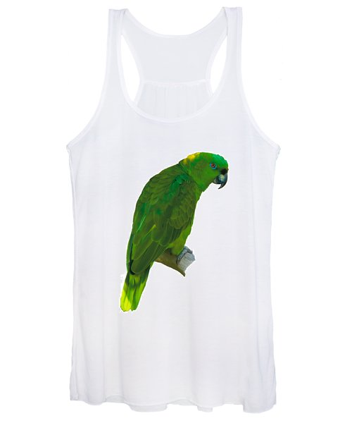 Green Parrot On White  Women's Tank Top
