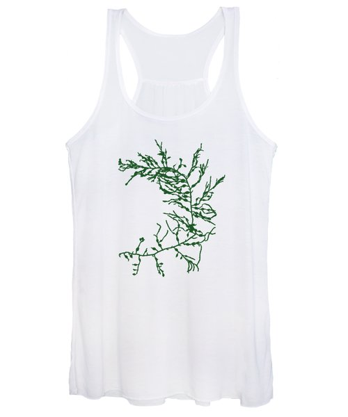 Women's Tank Top featuring the mixed media Green Seaweed Art Cystoseira Fibrosa by Christina Rollo