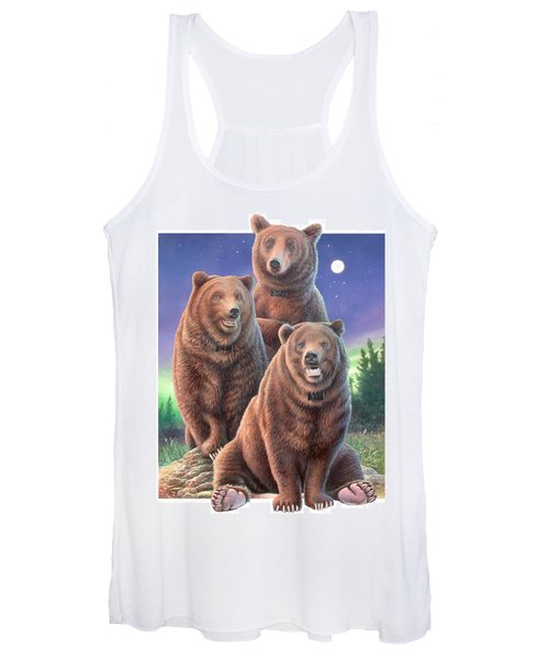 Grizzly Bears In Starry Night Women's Tank Top