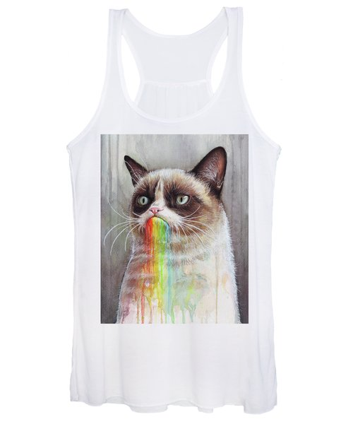 Grumpy Cat Tastes The Rainbow Women's Tank Top