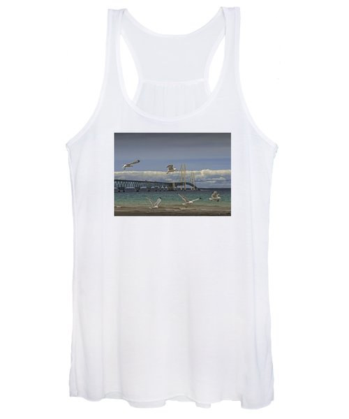 Gulls Flying By The Bridge At The Straits Of Mackinac Women's Tank Top
