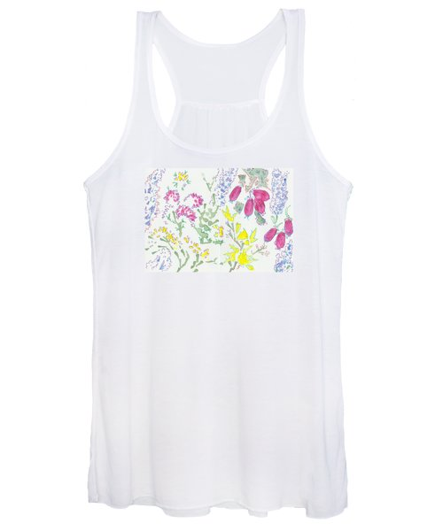 Heather And Gorse Watercolor Illustration Pattern Women's Tank Top