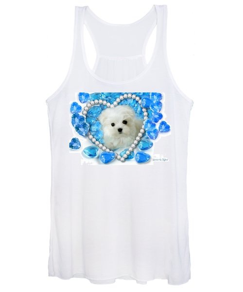 Hermes The Maltese And Blue Hearts Women's Tank Top