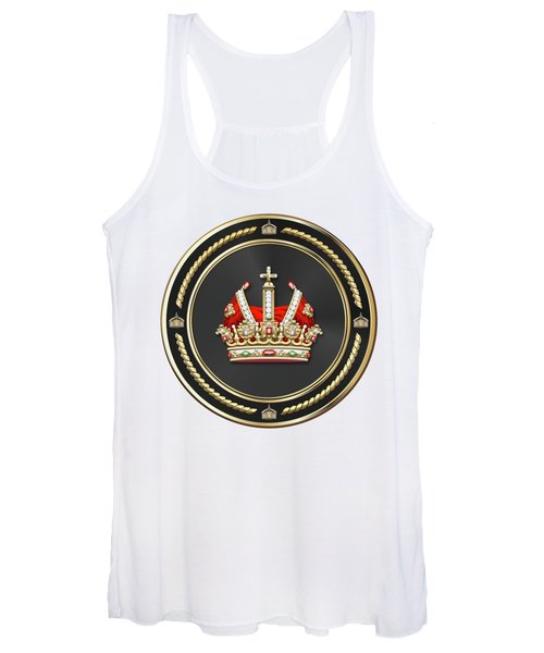 Holy Roman Empire Imperial Crown Over White Leather  Women's Tank Top