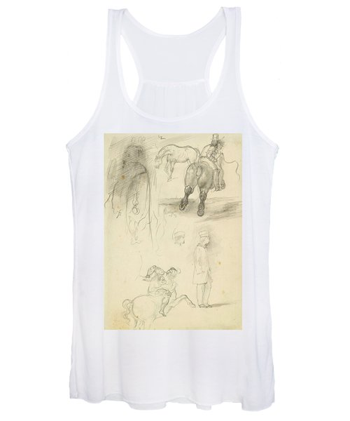 Horses Riders And A Young Man Women's Tank Top