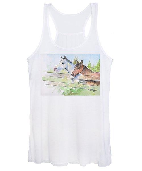 Horses Watercolor Sketch Women's Tank Top