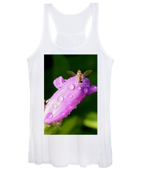 Hoverfly On Pink Flower Women's Tank Top