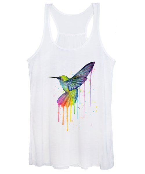 Hummingbird Of Watercolor Rainbow Women's Tank Top