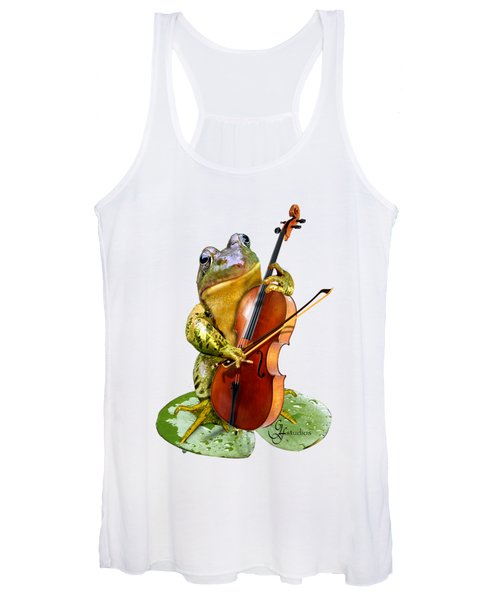 Humorous Scene Frog Playing Cello In Lily Pond Women's Tank Top
