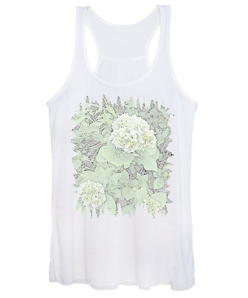 Hydrangea Pencil Sketch With Jagged Edge  Women's Tank Top