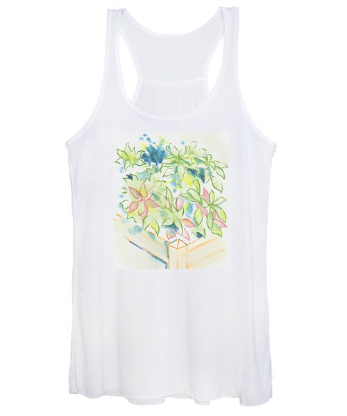 Hydrangea Plant Growing Out Of A Square Wooden Planter Women's Tank Top