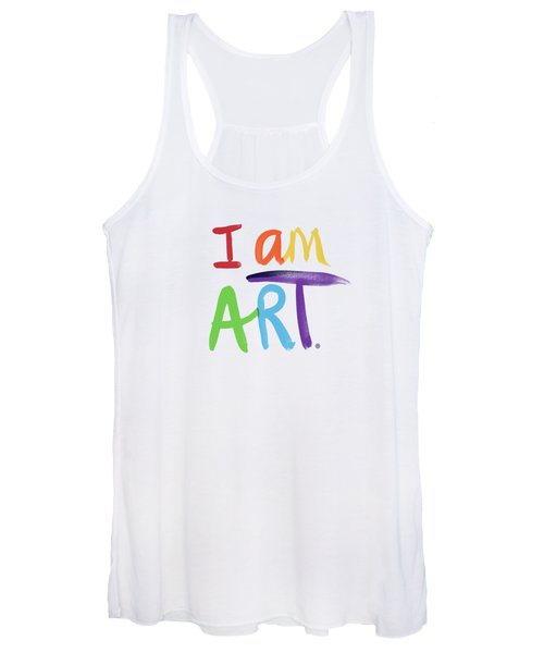 I Am Art Rainbow Script- Art By Linda Woods Women's Tank Top