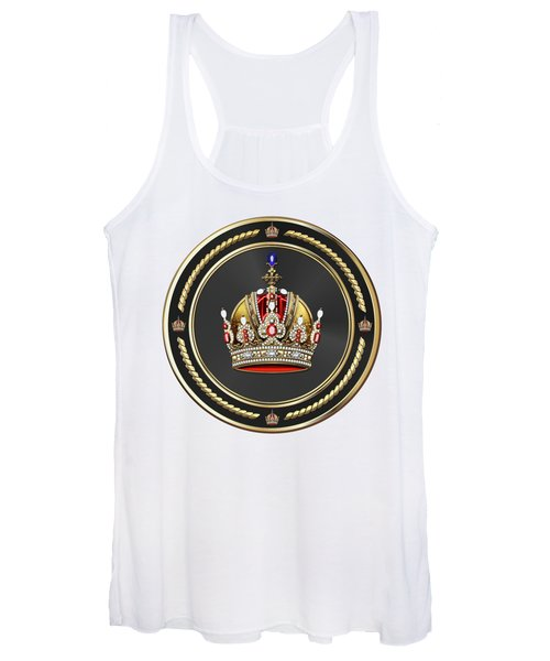 Imperial Crown Of Austria Over White Leather  Women's Tank Top
