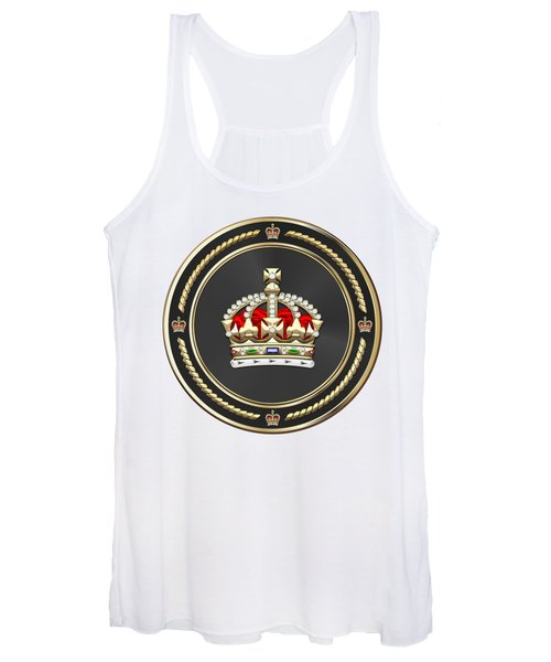 Imperial Tudor Crown Over White Leather Women's Tank Top