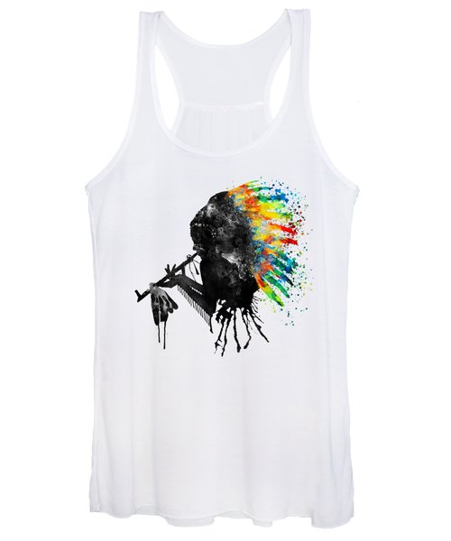 Indian Silhouette With Colorful Headdress Women's Tank Top