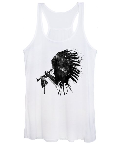 Indian With Headdress Black And White Silhouette Women's Tank Top