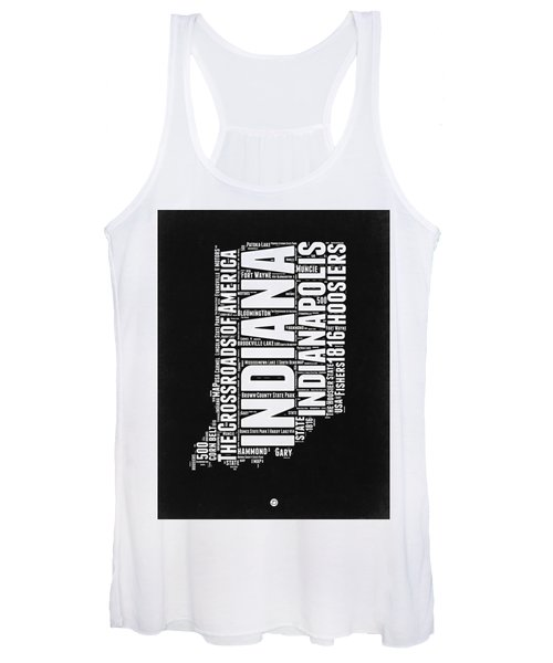 Indiana Black And White Word Cloud Map Women's Tank Top